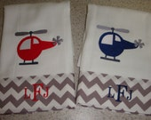 Helicopter Baby Burp Cloths Monogrammed FREE
