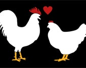 Chickens in love Rooster and Hen stick family decal back glass window sticker