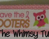 """Breast Cancer Awareness Owls """"Save the Hooters"""" Wristlet Key Fob"""