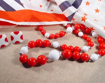 Red and white beaded necklace and pierced earring set polka dots