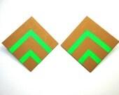 Midtown Chik Post Earrings in Neon Green and Honey