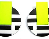 Denise 86 Post Earrings in Neon Yellow, Black, and White