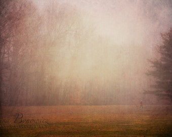Run Girl Run - Girl Running Through Surreal Forest in Fog- Fine Art Photo on Gallery Wrapped Canvas - 20x30 Nature Photography