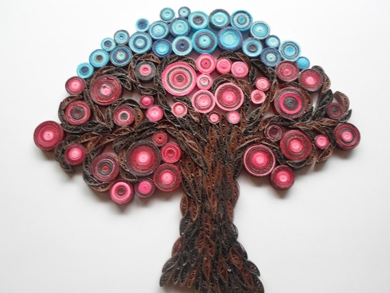 Quilling Wall Art Design : Wall decoration tree of life hanging modern red home