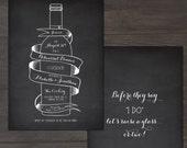 Wine Bottle Chalkboard Inspired Wedding Rehearsal Dinner Invitation Card