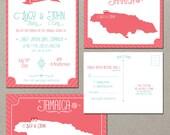 Coral Reef Beach Destination Wedding Invitation RSVP Cards Jamaica Destination wedding invitation Caribbean wedding invite map invitation