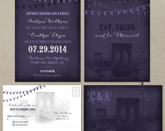 Brooklyn Bridge Purple Chalkboard Inspired Wedding Invitation Card and RSVP - String Light  - New York manhattan Wedding