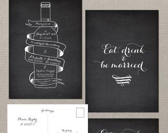 Wine Bottle Chalkboard Inspired Wedding Invitation Card and RSVP Suite - Vintage Winery Wedding Stationary Design fee