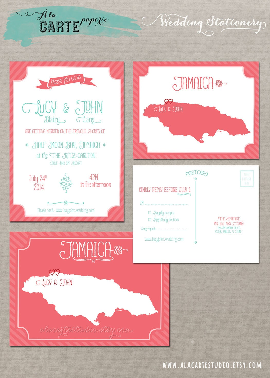 Coral reef beach destination wedding invitation rsvp cards for Destination wedding invitation rsvp etiquette