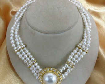 Multi Stranded Faux White Pearl & Rhinestone Necklace