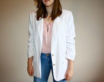Vintage 80s Oversized White Nautical Jacket Blazer - M, L