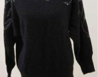 Women's Vintage Black and Beaded Sweater Size L