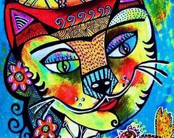 Day of The Dead Frida Cat*  - SILBERZWEIG ORIGINAL ART Print - Surreal, Nightmare, Bird, Fish, Mexican, Day Of The Dead, Skull, Boho, Folk