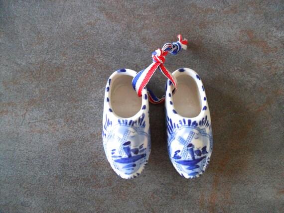 Vintage Delft Porcelain Shoes Miniature Blue And White