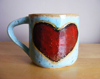 Mini red heart mug