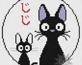 Kiki's Delivery Service (Studio Ghibli) Jiji black cat cross stitch PDF pattern
