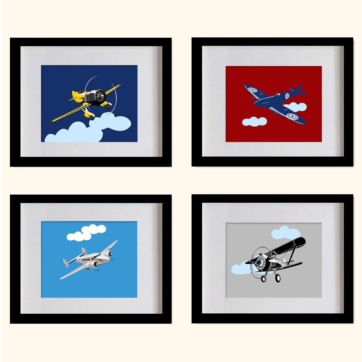 Airplanes Art Prints Boys Room Wall Decor by MadeForYouPrints