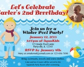 Winter Pool Party Invitations with PHOTO. Customized just for you're upcoming party. Boy's hair color can be changed as needed.