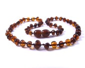 Natural Baltic Amber Baby Teething Necklace Cognac color Rounded Beads