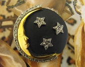 VINTAGE Pin Brooch MOON and STARS