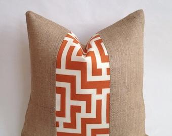 Tangerine and Cream Key Indoor/Outdoor Fabric & Burlap Pillow Cover