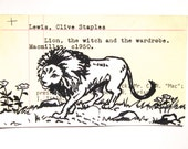 The Lion, The Witch and the Wardrobe Library Card Art - Print of my painting of Aslan the lion on library card catalog card