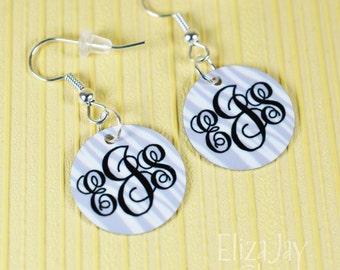 enameled zebra monogram earrings