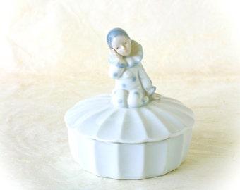 Vintage Pierrot Clown Otagiri Porcelain Trinket Candy Dish Mid Century