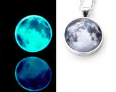 Glow In The Dark Blue Moon Necklace / Glass Moon Necklace