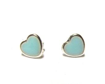 Tiny heart earring studs  greyed jade stud earrings