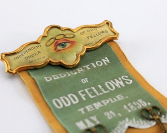 1895 Independent Order of Odd Fellows - Temple Dedication Ribbon