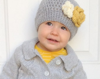 Crochet Baby Girl Hat- Gray with Yellow and Cream Flowers, Toddler Girl Hat