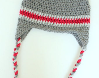 Baby Boy Crochet Earflap Hat, Toddler Boy Crochet Earflap Hat, Gray and Red