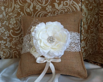 Burlap Ring Bearer Pillow with Ivory Accents