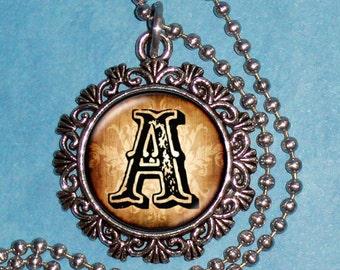 """Letter """"A"""" Art Pendant,  Alphabet Resin Pendant, Vintage Silver, Black & Brown Photo Pendant"""