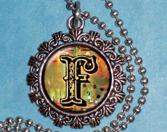"Letter ""F"" Art Pendant,  Alphabet Resin Pendant, Vintage Silver, Green, Black & Brown Photo Pendant"