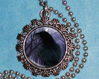 Raven Crow in front of a Tree and Moon Art Pendant, Black Bird in a Violet Night Resin Pendant, Photo Pendant Charm