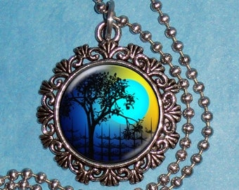 Tree and Blue Moon Art Pendant, Whimsical Night Resin Photo Pendant