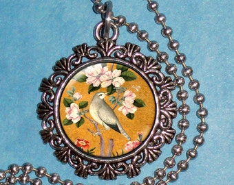 Bird Perching on a Blossoming Branch Art Pendant, Resin Pendant, Yusuf Zaman Art, Photo Pendant Charm