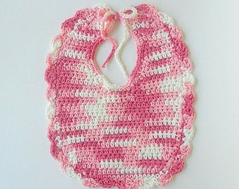 White And Pink  Baby Girl Bib  With Scallop Edge Infant Cotton Feeding Accessory For Newborn To Toddler