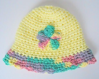 Pastel Yellow Newborn Hat Baby Girl Summer Cap Infant Spring Cotton Beanie 0 To 3 Months Green Pink Purple Flower Ready To Ship