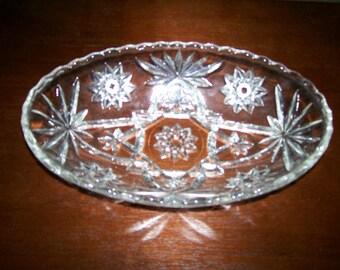 Vintage Early American Prescut (star of David) Scalloped-Edge Oval Relish Dish