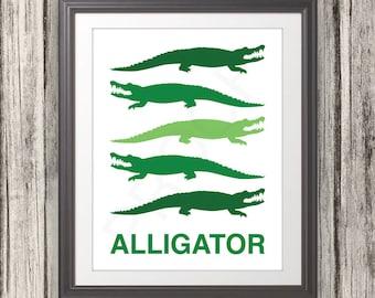 Green Alligator, Nursery Print, Alligator Print, Alligator Poster, Mid Century Art, Kids Wall Art, Retro, Children's Room