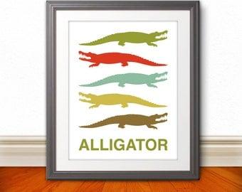 Alligator, Nursery Print, Alligator Print, Alligator Poster, Mid Century Art, Retro, Children's Room - 11x14