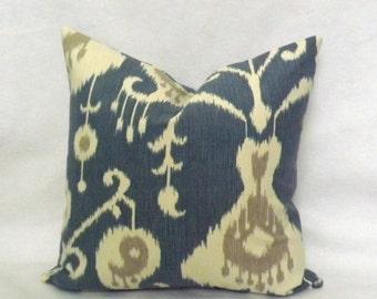 Decorative Throw Pillow, Blue and Cream Ikat Pillow Cover, Accent Pillow, Toss Pillow Cover, Lumbar Pillow, 18x18, 20x20