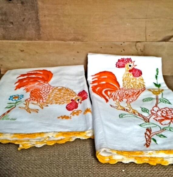 Vintage Towels: Vintage Tea Towels Embroidered: Pair Of Rooster Tea Towels