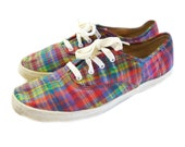 RESERVED for V // Vintage Keds NEON PLAID Slip On Lace Up Sneakers 90s Kicks Colorful Checkered 8 8.5 - NewDayRisingVintage