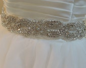 "Wedding Gown Sash, Bridal Belt. Satin Ribbon, Crystals, Rhinestones, Beads, Bridesmaids Dress, Prom Dress. ""Courtney""  X- LONG"