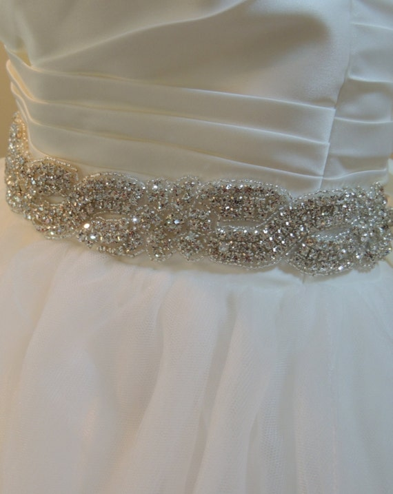 "Wedding Gown Sash, Bridal Belt. Satin Ribbon, Crystals, Rhinestones, Beads, Bridesmaids Dress, Prom Dress. ""Courtney""  LONG"