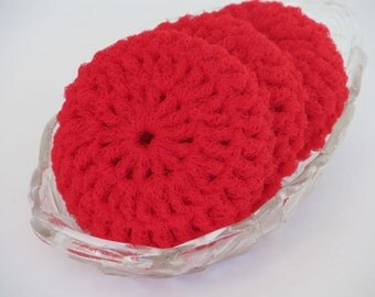 Kitchen Dish Scrubbies - Crochet Red Nylon Net